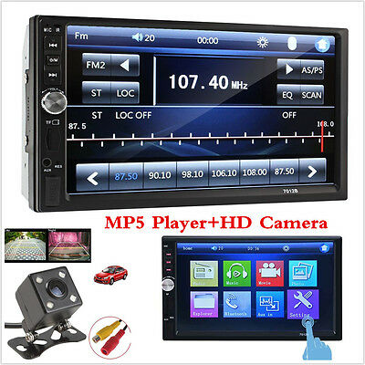 "Touch In Dash Car Stereo MP5 Player 7"" Bluetooth FM Radio TF/USB 2 Din+HD Camera"