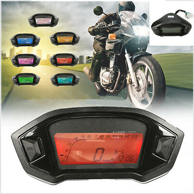 MOTORCYCLE LCD DIGITAL SPEEDOMETER ODOMETER 7 COLORS BACKLIGHTSPEED S