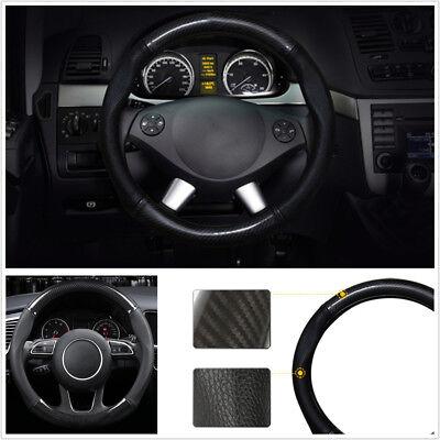 Fashion Durable Black Real Carbon Fiber 38cm Car Steering Wheel Protector Cover