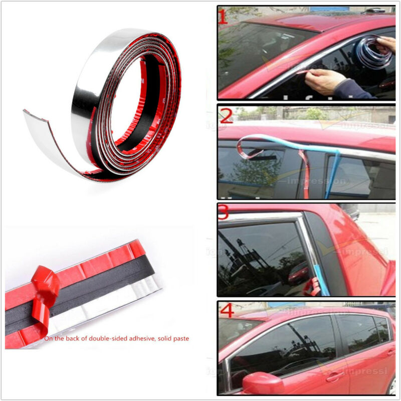 2.5M Car Bumper Door Edge Lip Guard Chrome Decoration Protector Moulding Trim