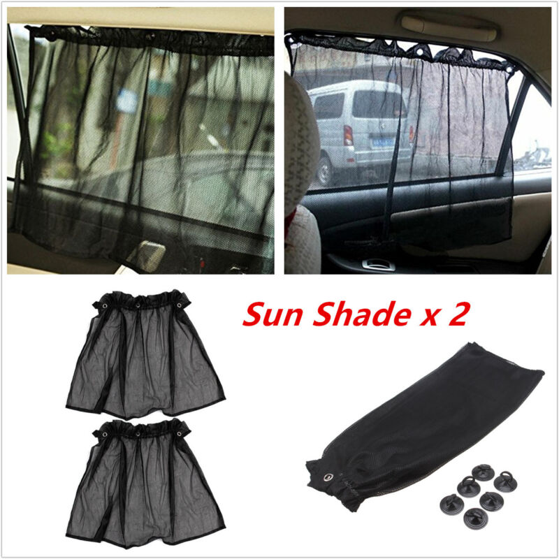 2pcs Car Sun Shade Mesh Side Window Curtain Sunshade Visor Anti-UV With Sucker