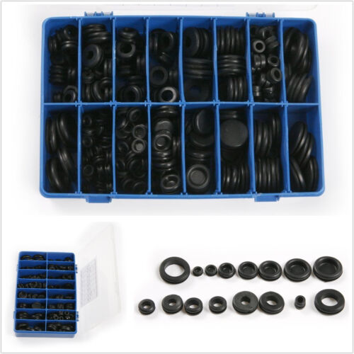 250 Pcs Cars Black Rubber Grommet Firewall Hole Plug Set Electrical Wire Gasket
