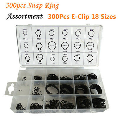 300Pcs E-Clip 18 Sizes 3mm 4mm 5mm 6mm 8mm 9mm Retaining Ring Assortment Kit