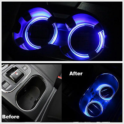 2X Solar Energy Cup Holder Bottom Pad Led Light Cover Mouldings Trim For Car