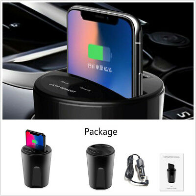 USB Charging Holder Fast QI Wireless Car Cup Charger For Samsung Galaxy iPhone (Fast Car Charger For Samsung Galaxy S3)