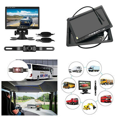 "Car Wireless License Plate Backup Rear View Camera Waterproof+7"" LCD Monitor Kit"