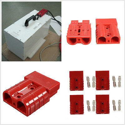 4 X 50A 8AWG Car Truck Battery Quick Connector Disconnect Winch Trailer Kit Red