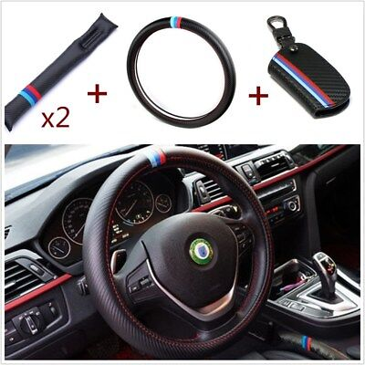 (M-Colored Car Steering Wheel Cover+2x Seat Gap Filler Pad+Key Holder Bag For BMW)