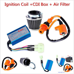 Racing AC CDI Box 6 Pin+Ignition Coil +Air Filter for GY6 50-150cc Moped Scooter
