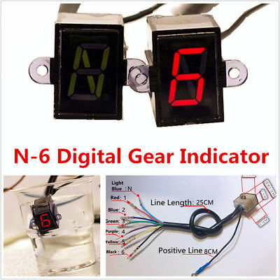 12V Universal Motorbike ATV 6 Speed N6 Digital Gear Indicator Display Waterproof