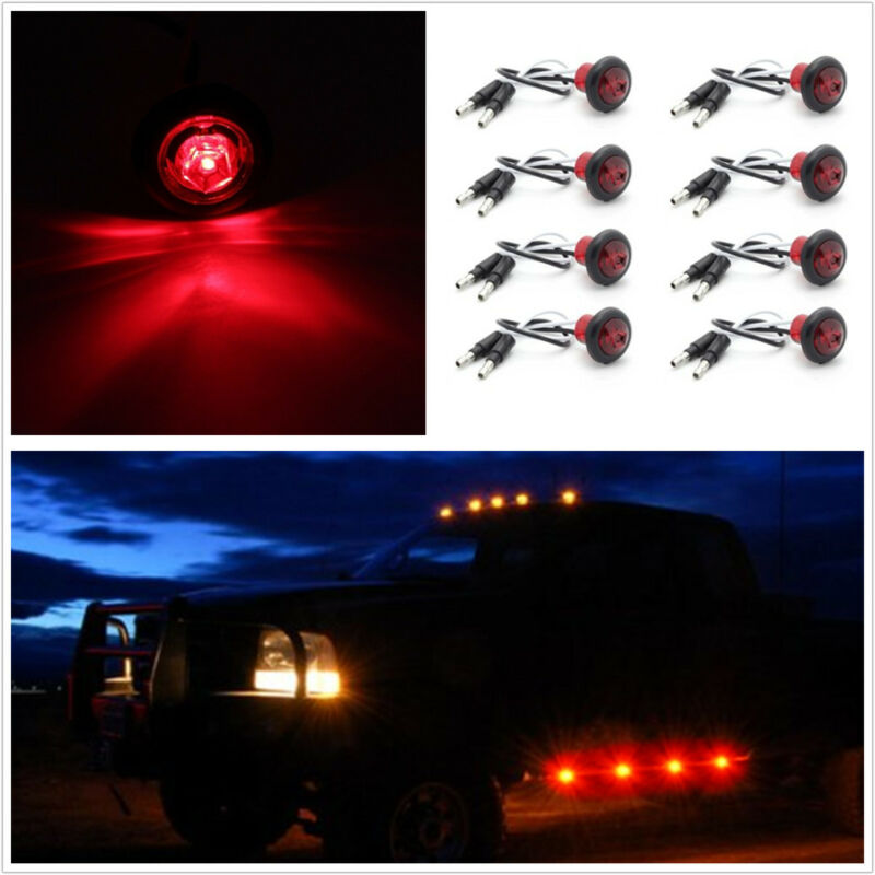 8 Pcs LED RED Hawkeye Flashing Emergency Grille Lighting chassis Light Warning