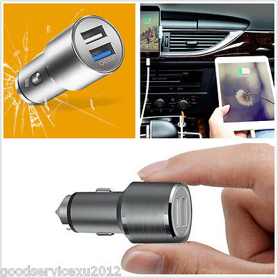 12V Mini Multifunction Car Dual Usb 3 0 Smartphone Rapid Charger Safety Hammer