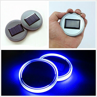 2 X Acrylic Material Solar Energy Car Suv Cup Holder Bottom Pad   Blue Led Light