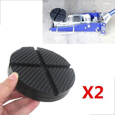 2 x Black DIY Car Cross Slotted Frame Rail Hydraulic Floor Jack Disk Rubber Pad