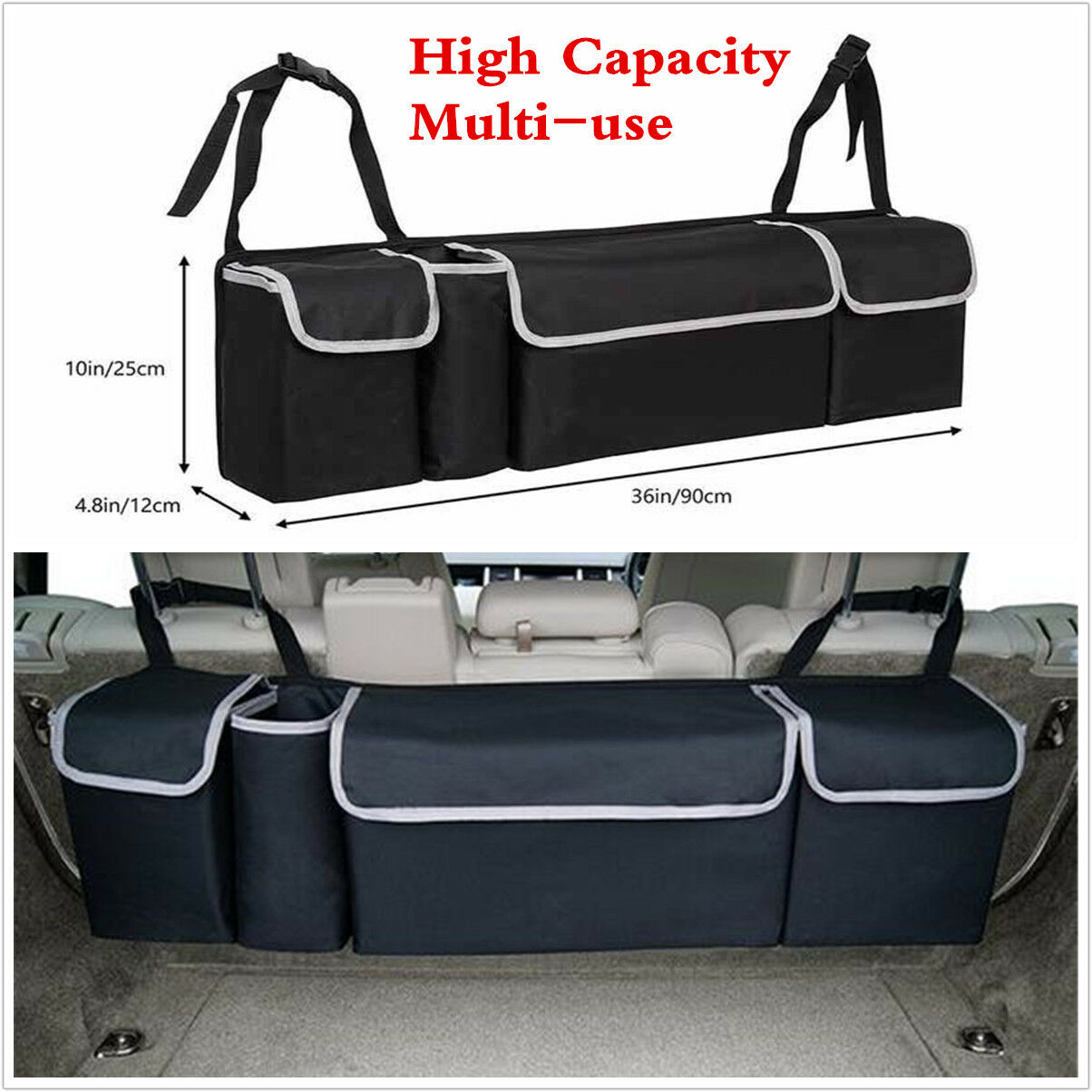 Car Parts - Black High Capacity Multi-use Car Seat Back Organizers Bag Interior Accessories