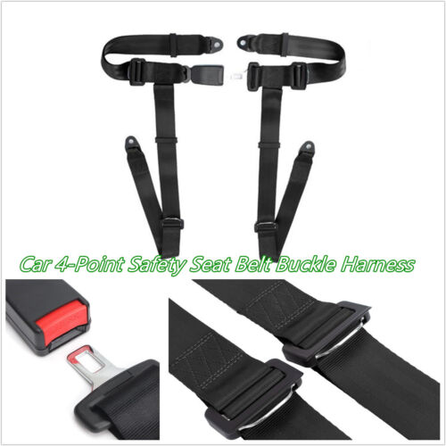 Car Off-Road 4-Point Racing Safety Harness Seat Beltbuckle Seat Belt Strap Black