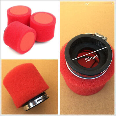 One Pcs Racing Motorbike Scooter Red Foam 58mm Air Filter Straight Rubber+Sponge