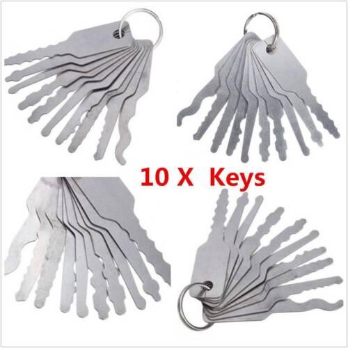 Owner 10Pcs Stainless Jiggler Keys Dual Sided Car Unlocking Lock Opening Repair Kits