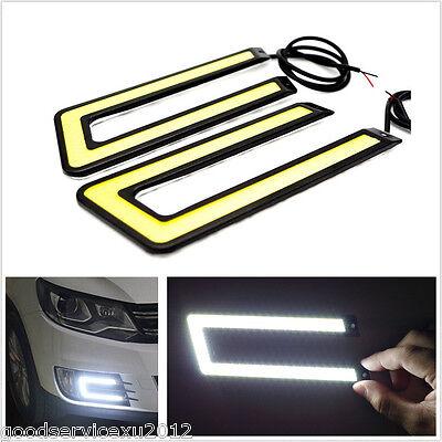 2 Pcs U Shape COB LED White Car DRL Daytime Running Lights Fog Lamps Waterproof