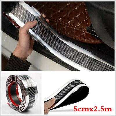 Car Door Sill Protector Carbon Fiber Silver Bumper Corner Guard Strip 2.5m x 5cm