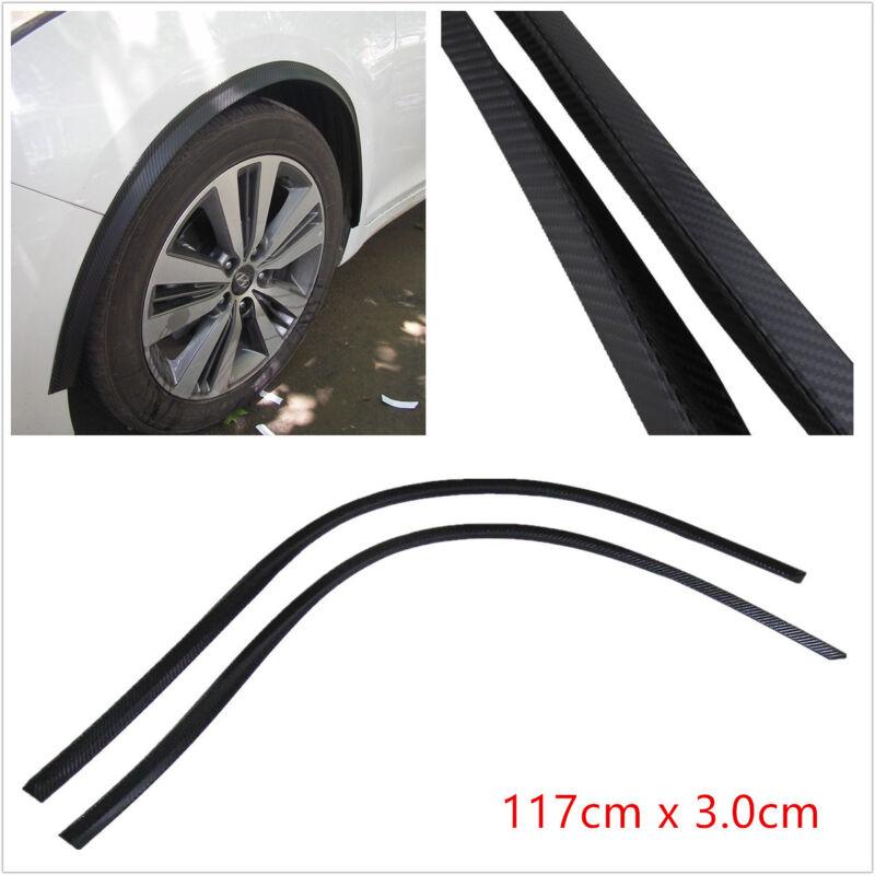 2XBlack Carbon Fiber Feel Rubber Car Bumper Flare Wheel Eyebrow Protector Strips