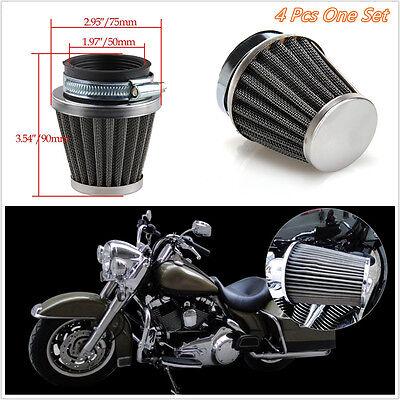 4 X BLACK MUSHROOM HEAD SHAPE MOTORBIKE 50MM AIR FILTERS FILTRATION CL