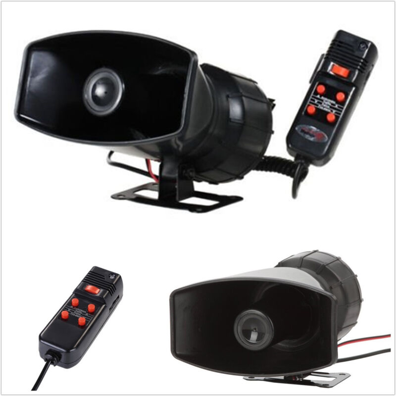 1 Pcs 12V Black Vehicle 5 Sound Tone Max 300DB Speaker Loud Horn With Microphone