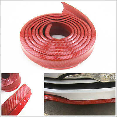 25M Red Carbon Fiber Look Car Front Bumper Quick Lip Splitter Protector Body