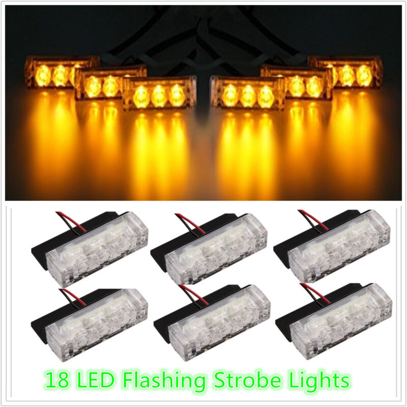 18 LED For Car SUV Truck Amber Flash Emergency Warning Strobe Grill Light Lamp