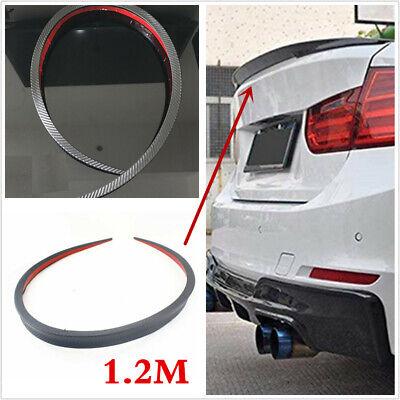 1.2m Universal Carbon Fiber PU Car Rear Roof Trunk Spoiler Wing Lip Sticker Kit
