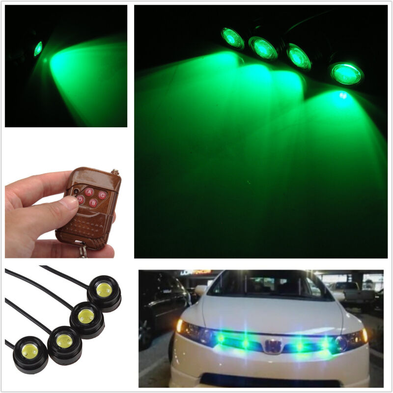 4Pcs green Hawkeye Flashing Emergency Super Bright Strobe Grille Light Truck SUV