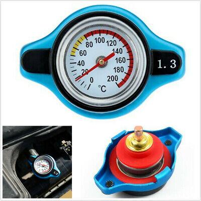 Universial Blue Car Thermostatic Radiator Cap W/Water Temp Gauge 1.3Bar Pressure