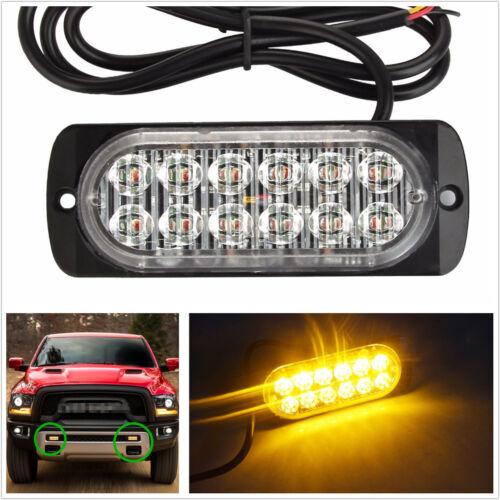 12-24V 12LED Amber Ultra Slim Autos SUV Strobe Emergency Light Warning Lamp DRL