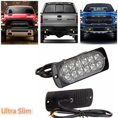 12 LED Ultra Slim  Surface Mount Flashing Strobe Warning Lights Amber Car Truck