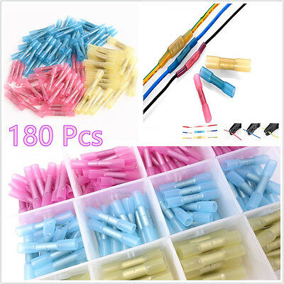 180In1 Car Insulated Heat Shrink Butt Electrical Wire Terminal Connector 3 Color