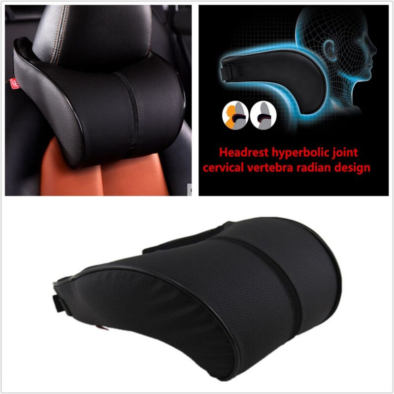 Car Ergonomic Memory Cotton Headrest Black Pu Leather Neck Rest Cushion Pillow