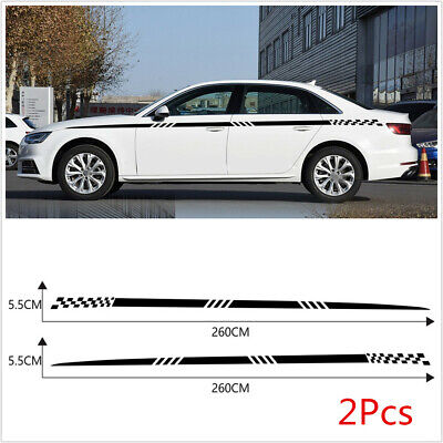 2Pcs Car Racing Both Side Body Vinyl Decal Sticker Long Stripe Decals Waterproof