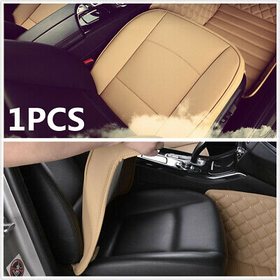 1Pcs Beige PU Leather Car Seat Cushion Full Surrounded Front Row Seat Cover Mat