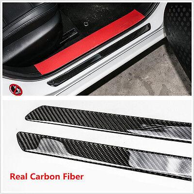 2x 49CM Carbon Fiber Car Scuff Plate Door Sill Cover Panel Step Protector Guard