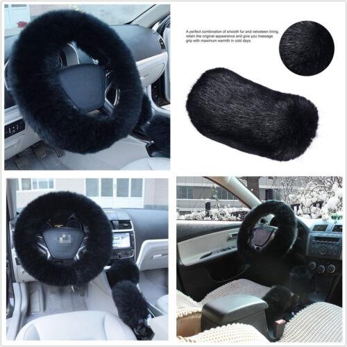 3 Pcs Furry Woolen Black Fur Steering Wheel&Handbrake&Gear Knob Cover For Autos