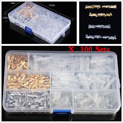 100 Set Brass Bullet Car Connector 3.9mm Male&Female Wire Terminals With Cover