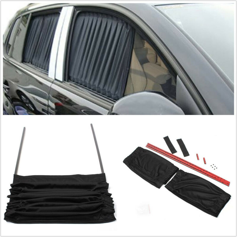2 X Black Adjustable Anti-UV Mesh Gauze Cloth Car SUV Window Windscreen Curtain