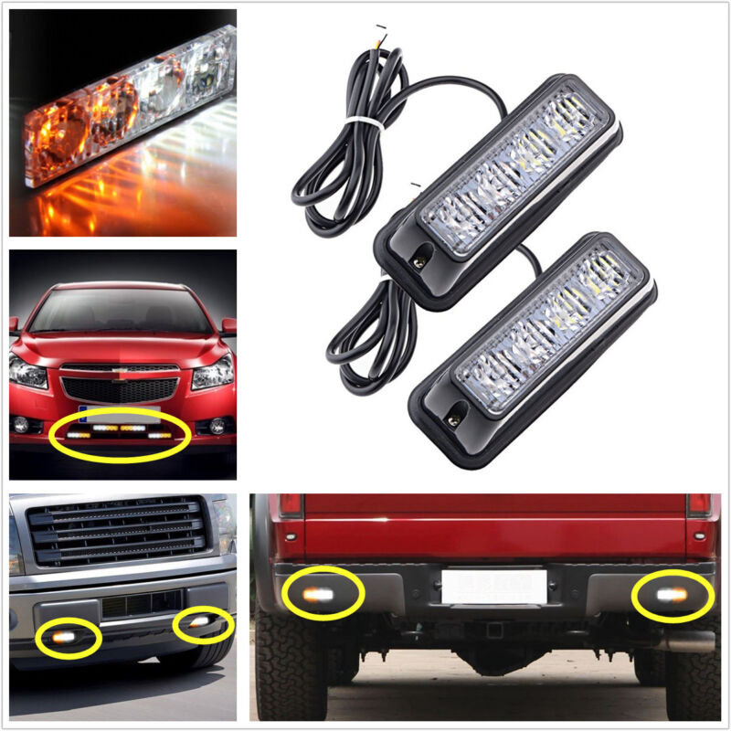 4LED X 2 Car Truck Emergency Beacon Light Bar Hazard Strobe Warning Yellow&White