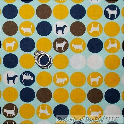 BonEful Fabric FQ Cotton Quilt Blue Gold Yellow White Brown VTG Dot Cat Dog Pet