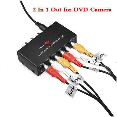 12V RCA Video Audio AV Switch Switcher Selector 2 In 1 Out for DVD Camera (2 Matrix Av Switch)