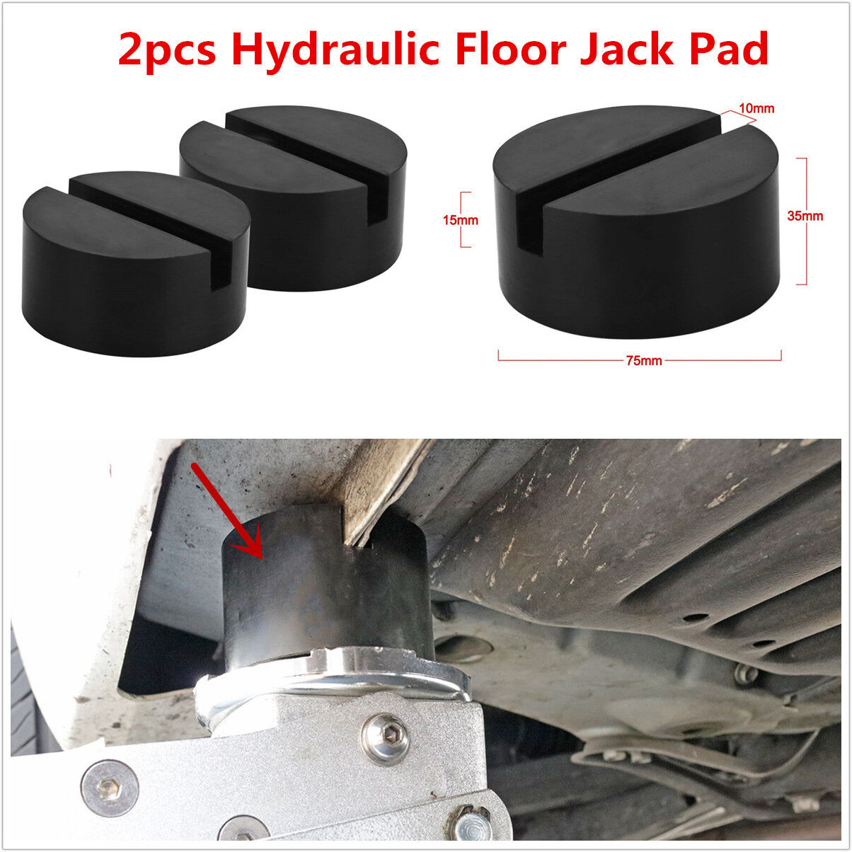 2pcs Slotted Frame Rail Floor Jack Disk Rubber Pad For