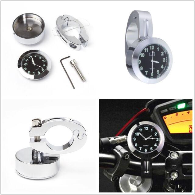 """Universal 7/8"""" Motorcycle Handlebar Mount Dial Clock Watch Gauge Kit Waterproof"""