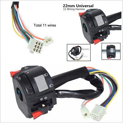 12V 22MM MOTORCYCLE SCOOTER SWITCH HORN TURN SIGNAL LIGHT ON OFF11 WI