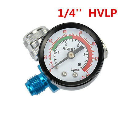 Digital Spray Paint Gun Regulator Air Pressure Gauge 14inch HVLP Compressor kit