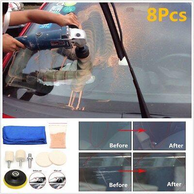 Auto Car Glass Polishing Kit Windscreen Windows Scratch Remover 8Pcs Repair Tool ()